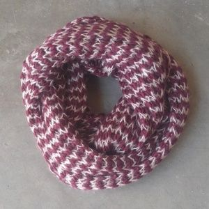 Francesca's Maroon and White Knit Infinity Scarf